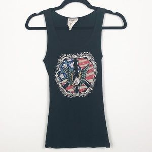 Vocal Black Tank Eagle Flag Peace World Small Med